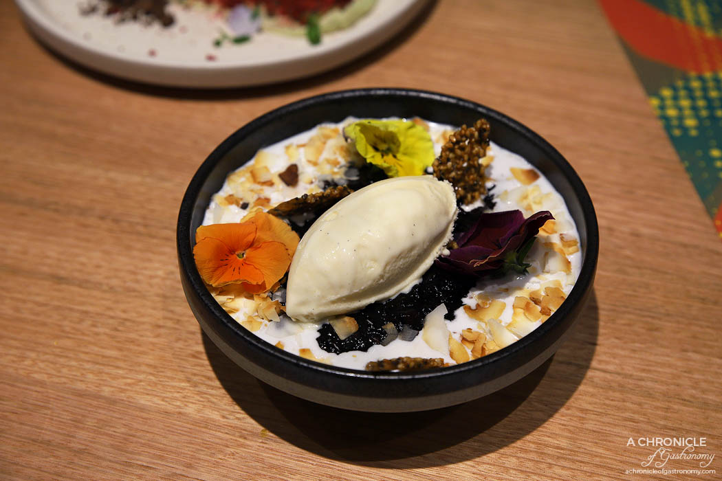 Makan - Black sticky rice, salted coconut cream, sesame nougatine, coconut & kaffir lime ice cream ($14)