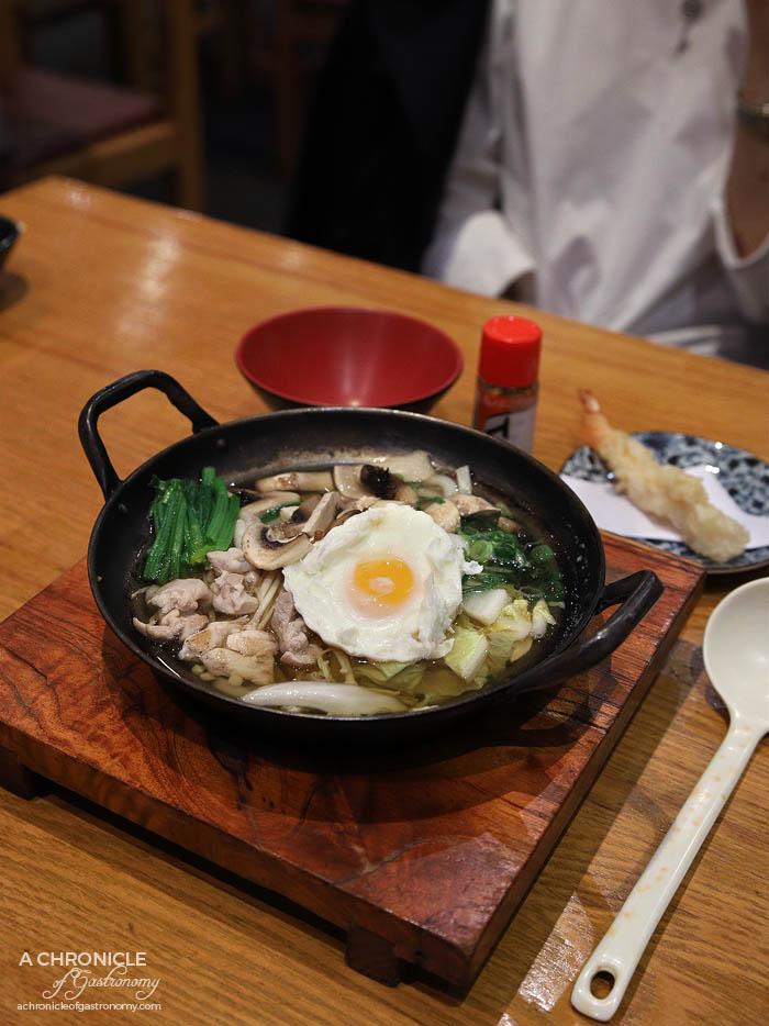 Matsumoto - Naabeyaki Udon with chicken, vegetables, soft poached egg & tempura prawn ($17)