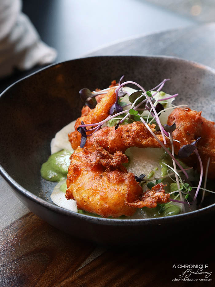 Ish - Amritsari tempura prawns, daikon salad, mint and yoghurt chutney ($20)