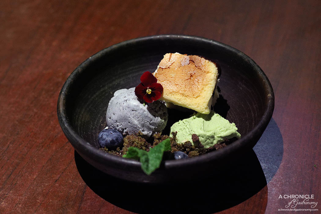 Machi - Yuzu cheesecake, matcha, coffee crumb, sponge cake, black sesame ice cream