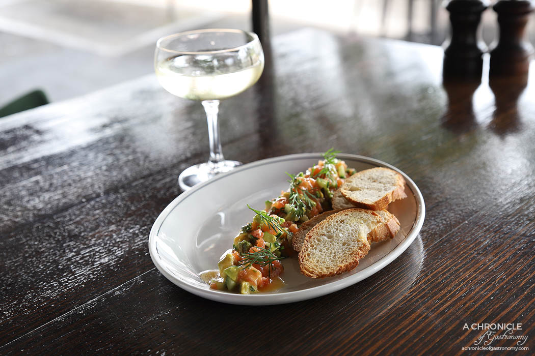Ripponlea Food and Wine - Salmon tartare with cucumber, avocado, dill, chives, citrus dressing & house made lavosh ($16.50)