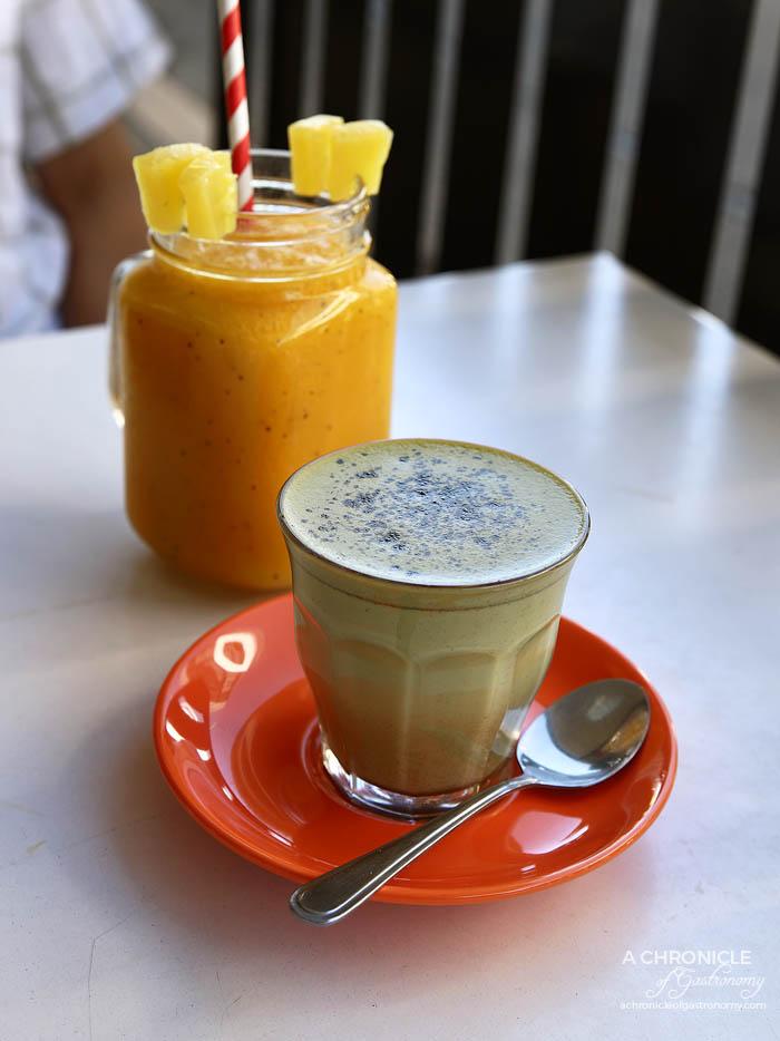 Enter Neighbour - Urban Blends Matcha Latte ($4) Tropical Smoothie w pineapple, mango, passionfruit, orange, coconut water ($9)