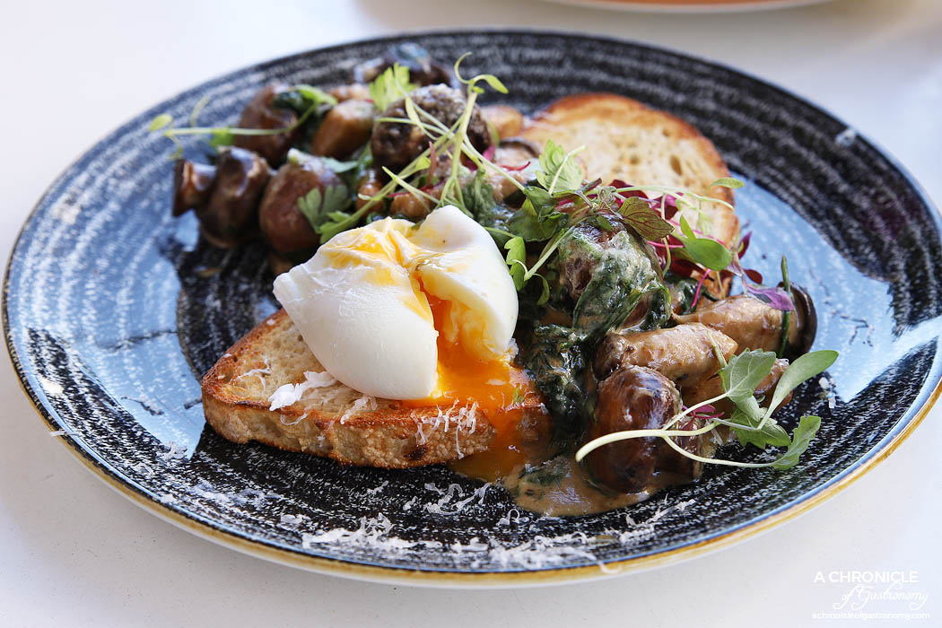 Enter Neighbour - King Truffle - Swiss Brown + Baby King Oyster Mushrooms + Spinach cooked in White Truffle and Porcini Cream + Ewes Milk Cheese wa Poached Egg on Toast ($21)