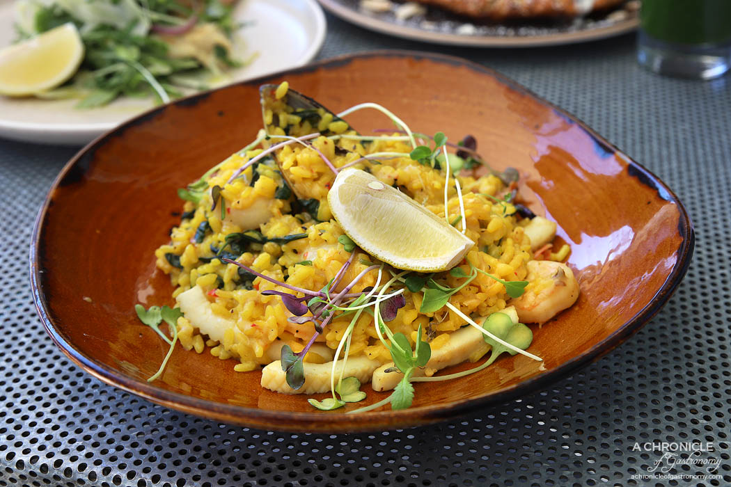 Espresso Room - Seafood Paella - Paella, tossed with seafood, pork sausage, roasted peppers, fresh herbs, and paprika infused saffron stock ($23.50)