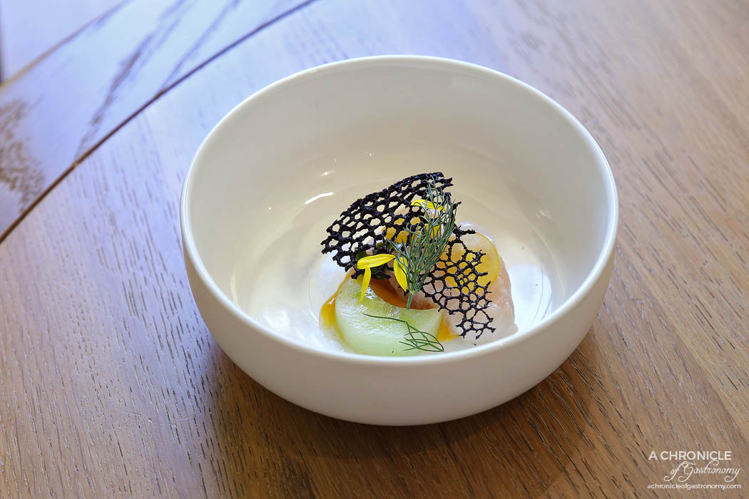 Lindenderry Red Hill - Kingfish ceviche, green gazpacho, squid tuille, yellow tomato emulsion, bronze fennel