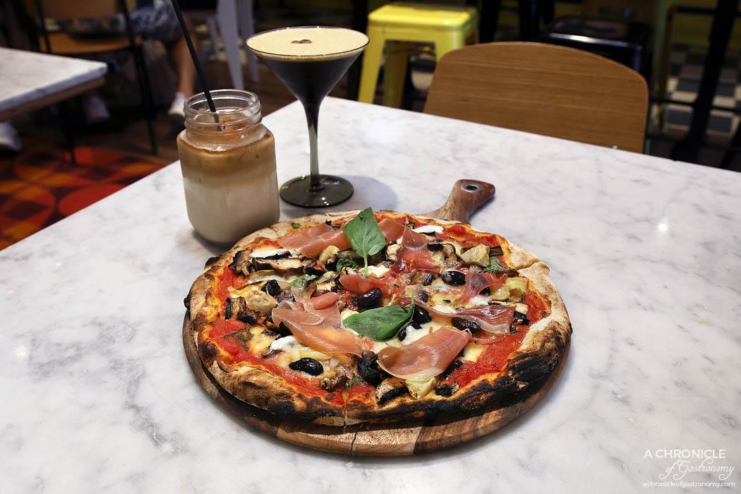 Pizzahead Coffeehead 1961 Coffee - Capricciosa - Ciao tomato, prosciutto, fior di latte, artichoke hearts, mushrooms, black olives ($21) Espresso Martini - Vodka, coffee liqueur, espresso coffee, sugar syrup ($14,90)