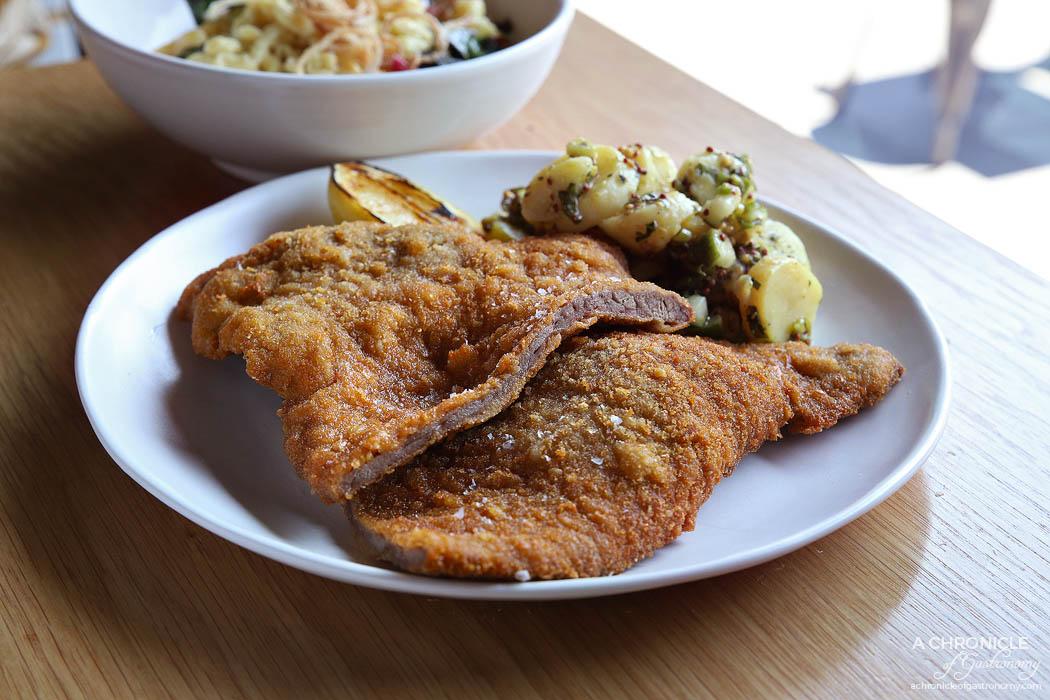 Messer - Veal schnitzel, pretzel crumb, potato salad, lemon