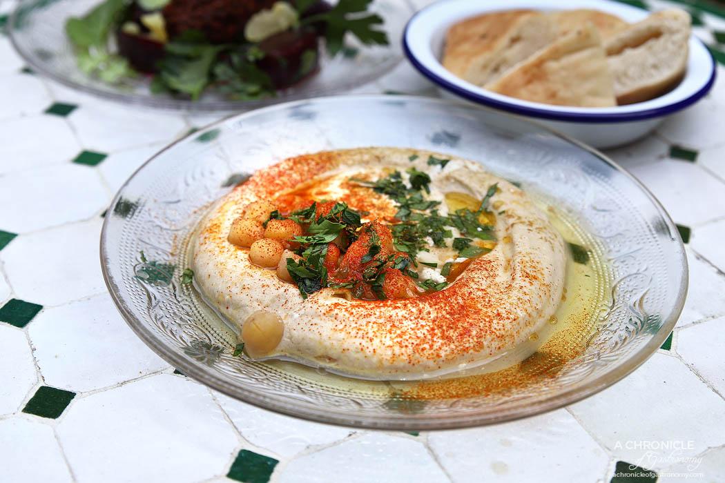 New Jaffa - Hummus Plate w chickpeas, tahini, garlic, green chilli vinaigrette and olive oil ($10)
