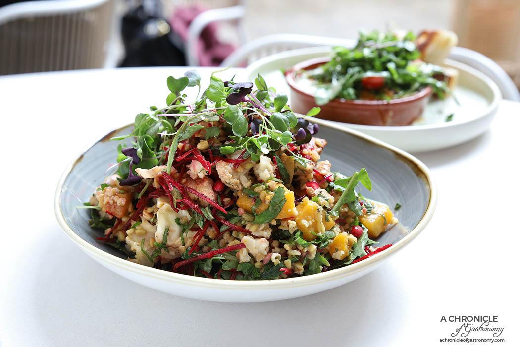 Zoobibi - Freekeh and cauliflower salad w roasted honey pumpkin, greens, pomegranate, lemongrass mint dressing w chicken ($18.50+5)