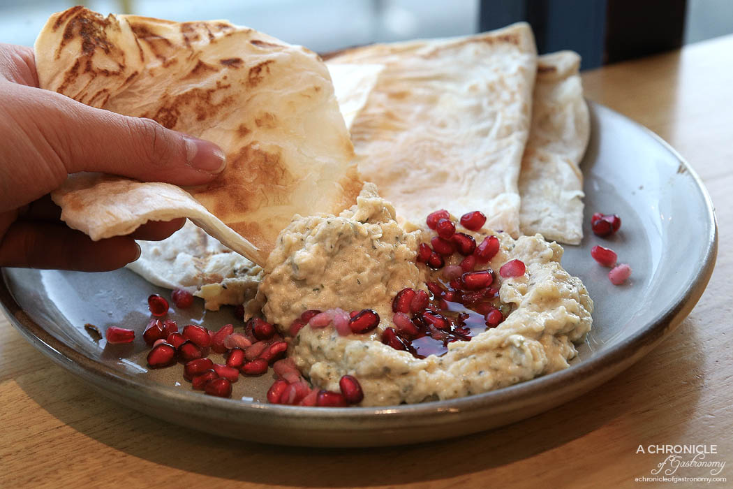 Infuse - Curried eggplant dip w pomegranate and grilled roti ($7)