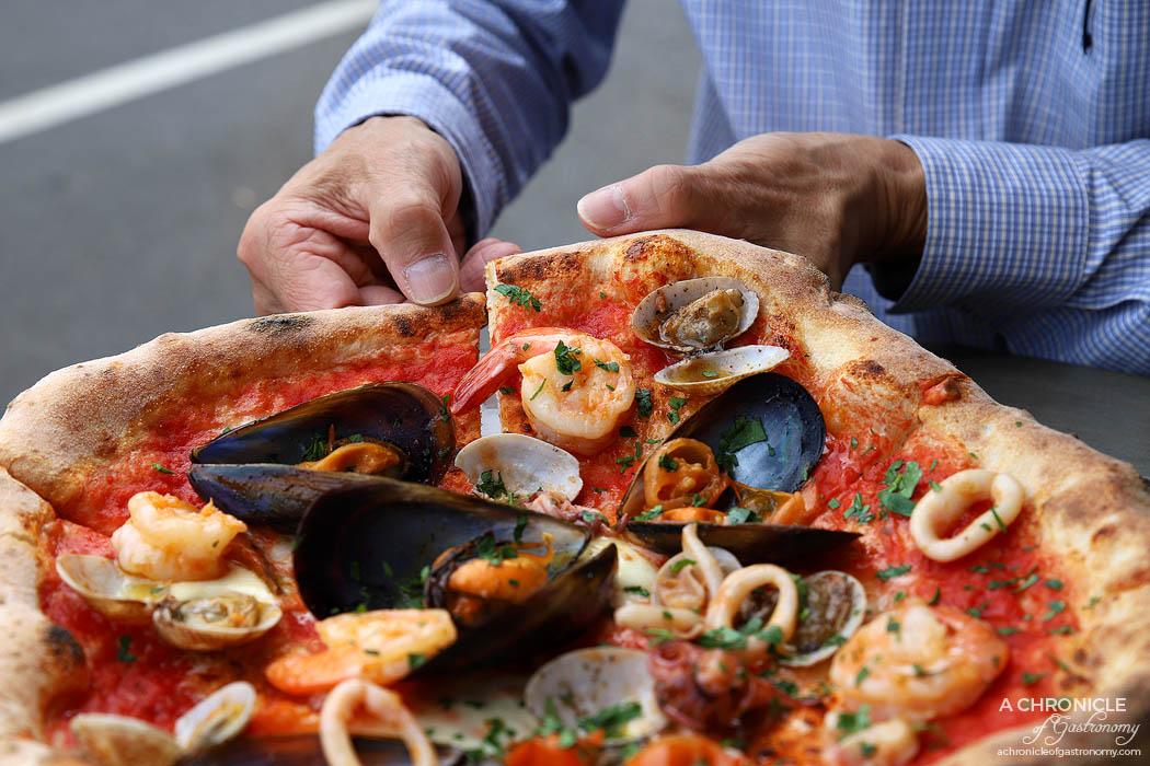 Zanini - Marinara Pizza - DOP San Marzano tomato, fior di latte, prawns, mussels and calamari ($24)