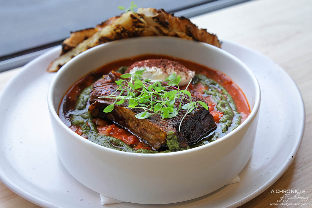 Touchstone - Moroccan braised beans w beef short ribs, gremolata, sumac labneh, harissa spice and grilled sourdough ($18)