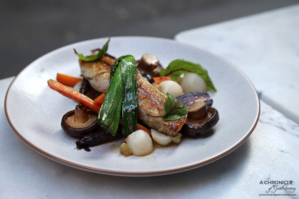 Ten Square - Miso Charred Mackerel - Baby carrots, grilled shiitake, turnip ($24)