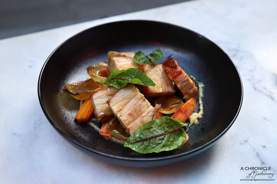 Ten Square - Pork Belly - Heirloom baby carrots, onion soubise, charred onions, pickled carrot and jus ($26)