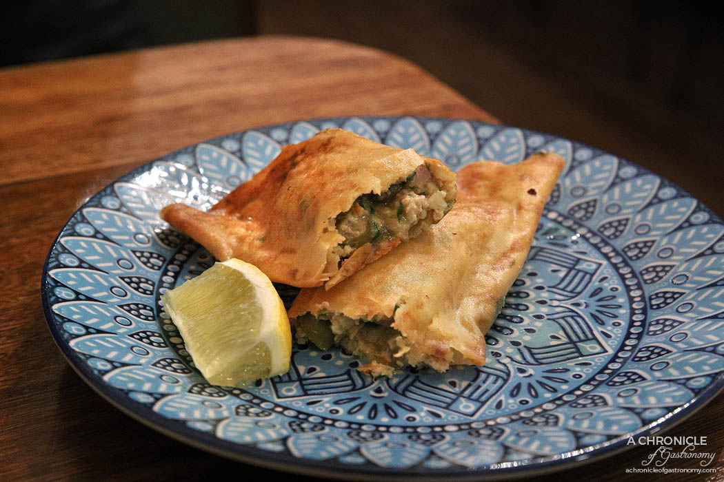 Casa Tajine - Tunisian Brika (malsouka) - Fried pastry stuffed with tuna, parmesan, parsley, capers, egg ($6)