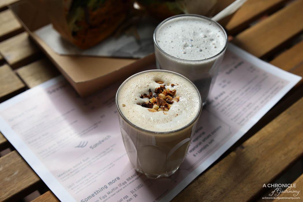 Dari Cafe - Job's tears latte w soy and walnut ($6,50 small) Black sesame latte w soy ($6,50 small)