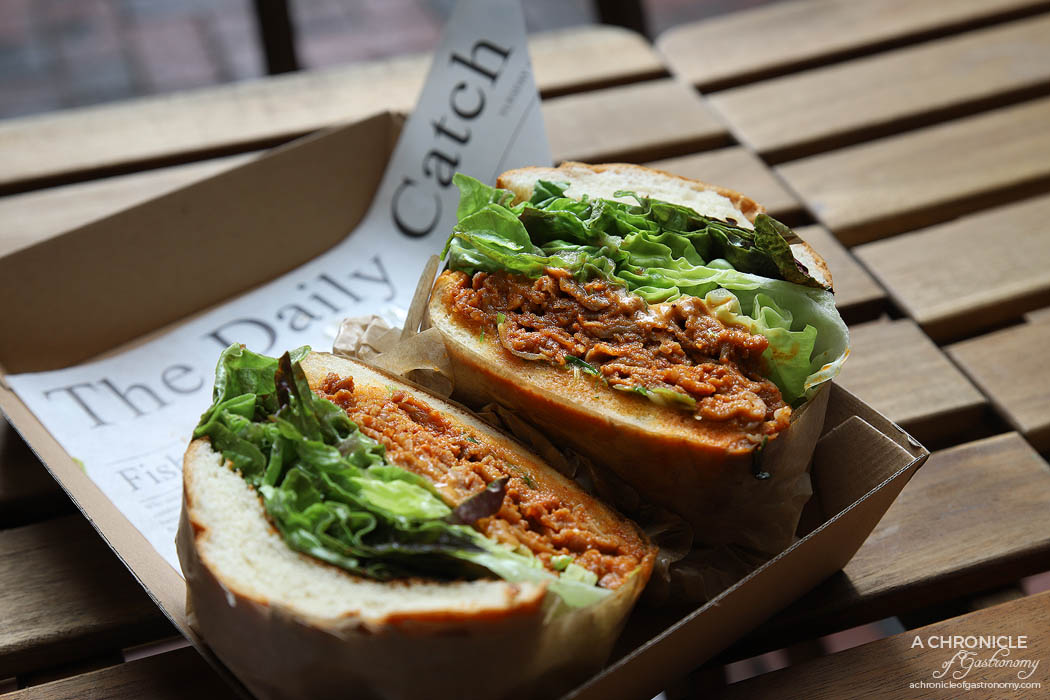 Dari Cafe - Spicy pork bulgogi bun - Bulgogi, sesame and mustard mayo, lettuce, onion, milk bun ($15)