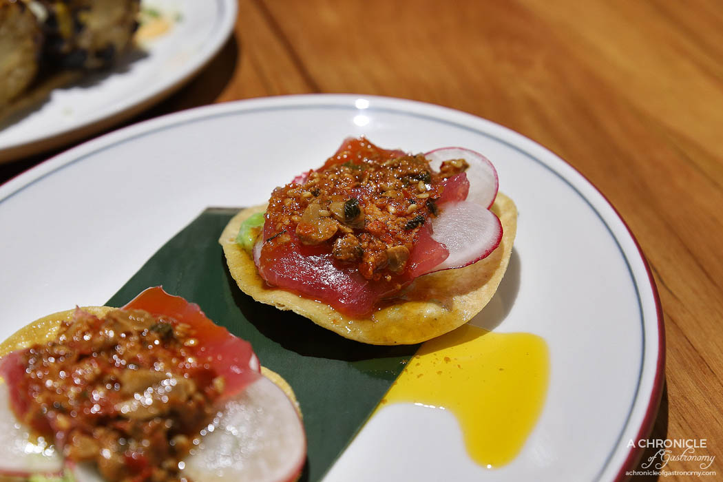 The Black Toro Windsor - Soy Marinated Tuna Tostada - Avocado, salsa macha, radish (2 for $16)