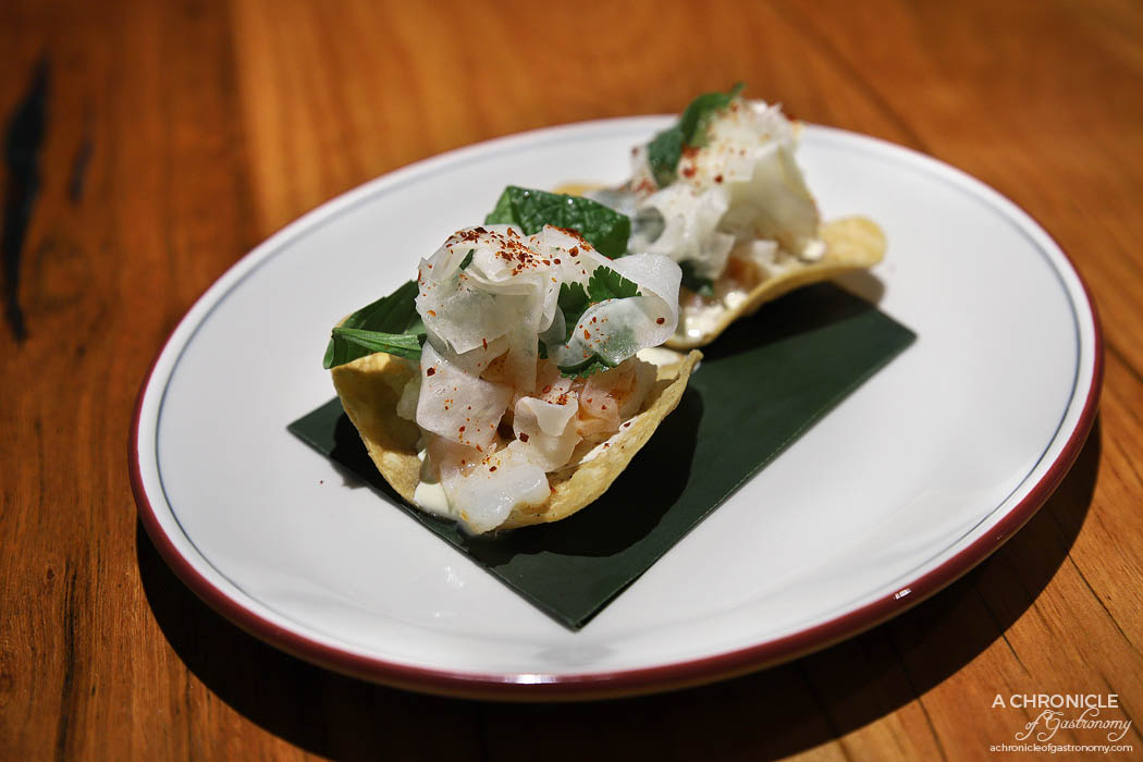The Black Toro Windsor - Prawn Tostada - Poached prawn, lime crema, fennel salad, tapatio hot sauce (2 for $16)