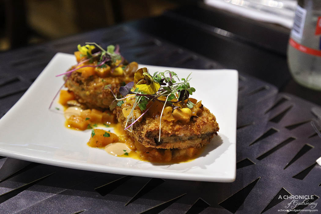 Ginger Olive - Mille Feuille of crispy eggplant w shiitake mushroom, sweet potato and corn and Japanese curry sauce