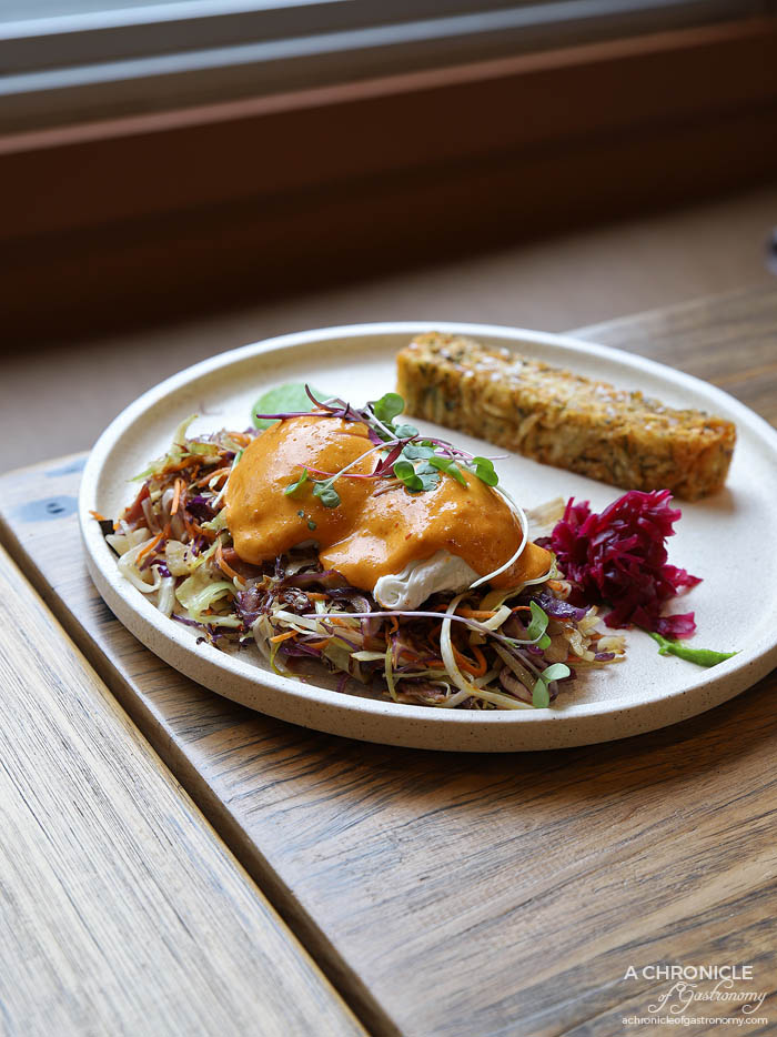 Oppen - Ham Hock Hash - Leek + Sauerkraut + Potato + Poached Eggs + Chipotle Hollandaise ($20)