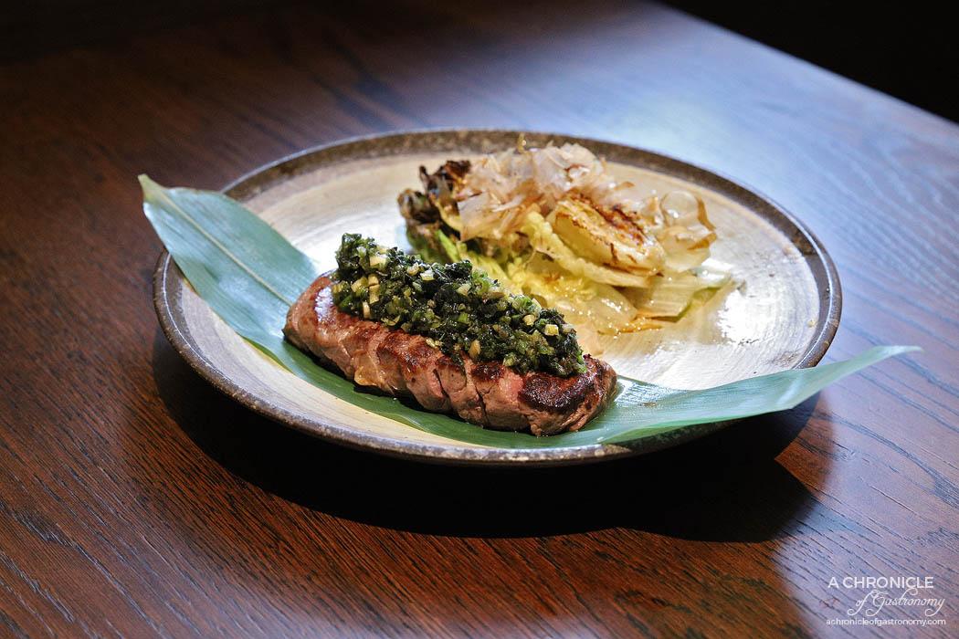 Gogyo Fitzroy - Wagyu steak chimichurri - Wagyu eye fillet MBS 7+, shiso chimichurri, baked gem lettuce ($34)