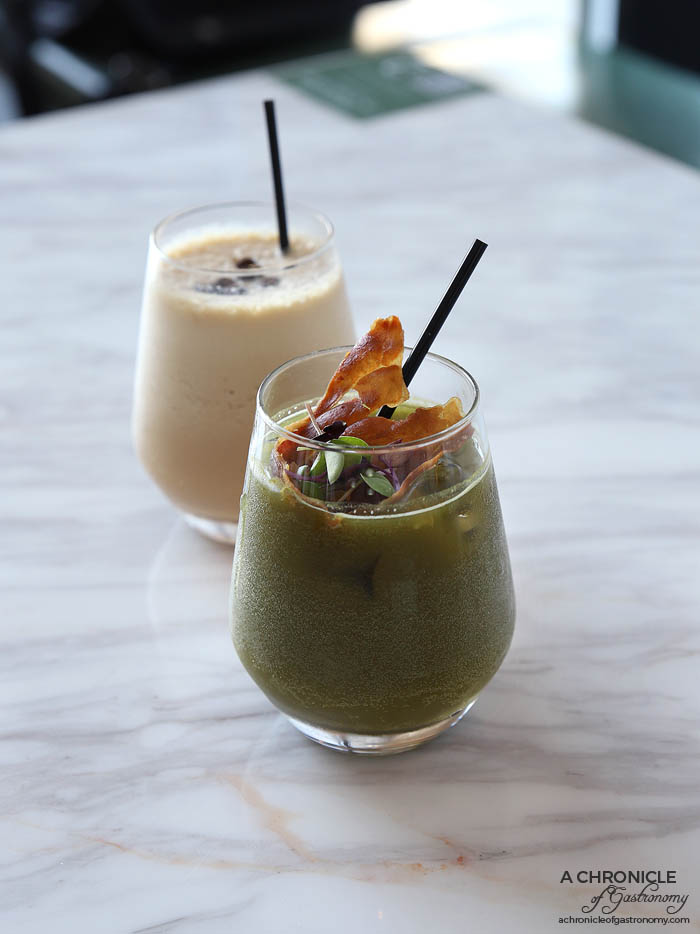 Zero Mode - Japanese Mode - Gin, sake, yuzu citrus, matcha soda, shiso leaves and fried prosciutto ($20) Coffee Mode - White rum, Baileys, espresso, Kahlua, ice cream ($17)
