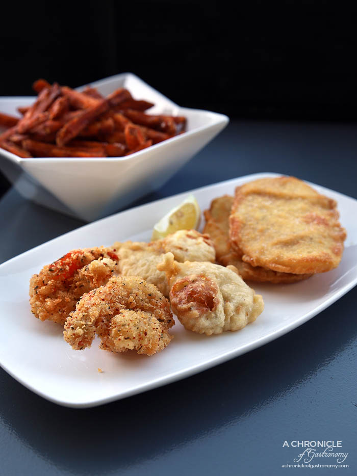 Hey Little Fishy - Potato cake ($1,20) Scallop ($2,80) Crumbed Prawn ($2,80) Sweet potato chips ($9)