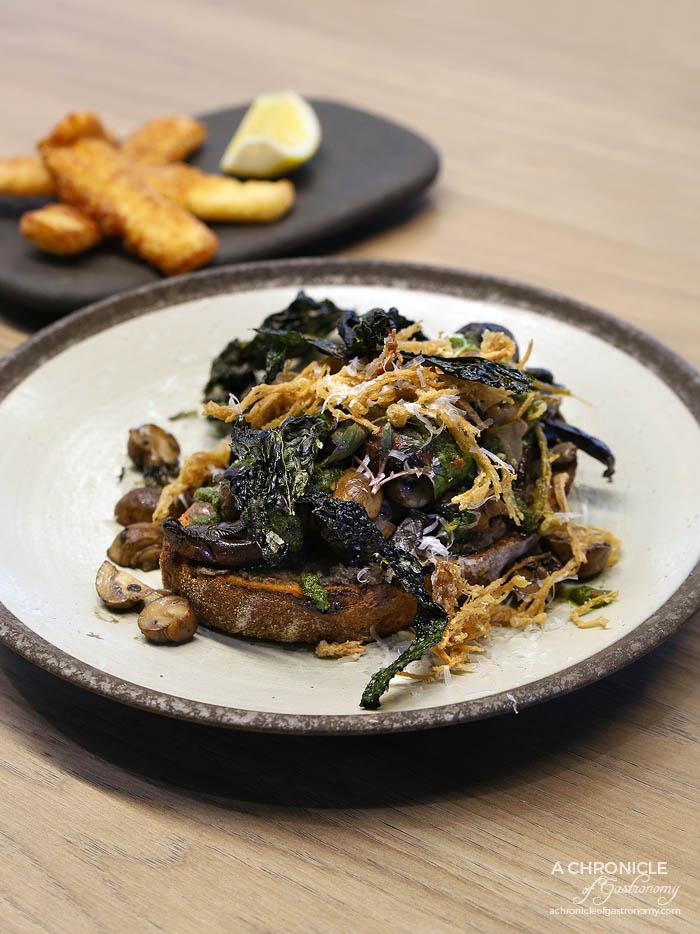 Undercover Roasters - Shrooms - Mushroom medley or smoked portobello, pickled shimeji, crispy enoki, sourdough toast, chimichurri, shaved pecorino, kale chips + fried halloumi ($20+3)