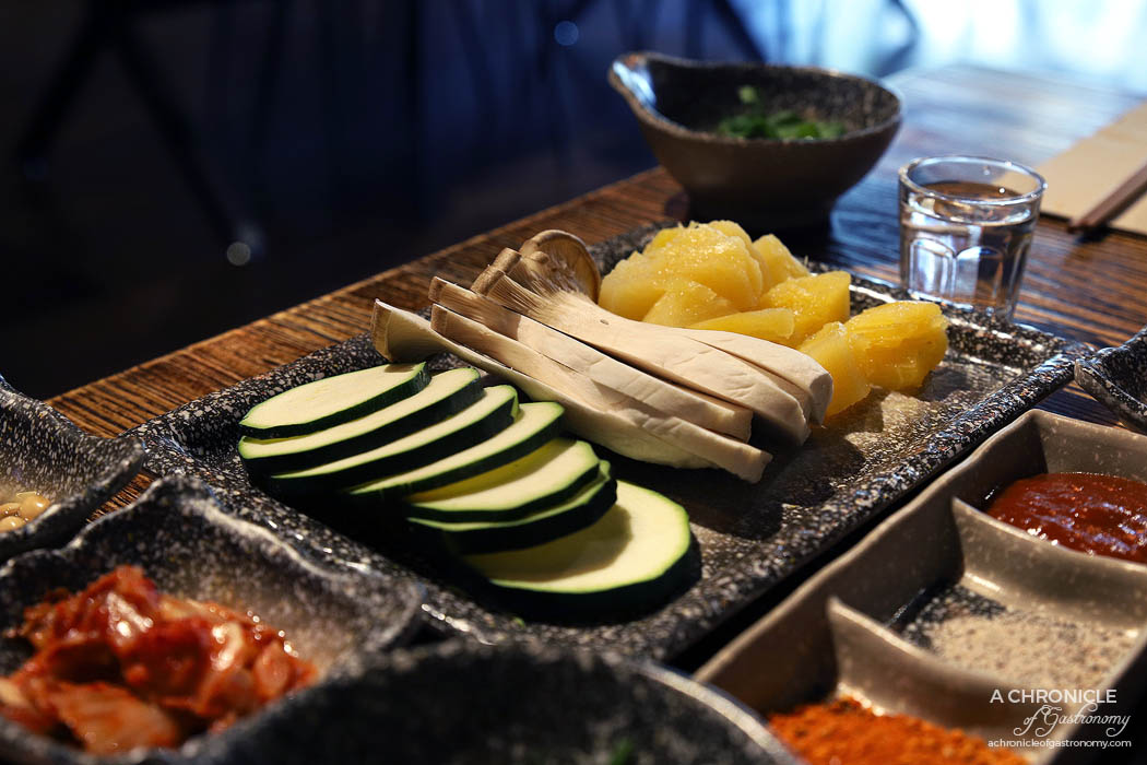 Dancing Flame Charcoal Grill - Condiments and mixed veggies (pineapple, zucchini, mushrooms) ($8.80)