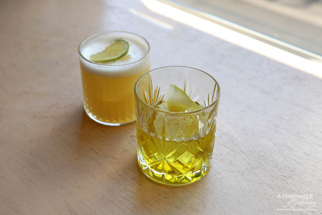 Mr Joe - Wafu old fashion Iwai blended whisky, umeshu, midori, Sansho $21, Yuzu Sour - Whisky, yuzu, egg white $19
