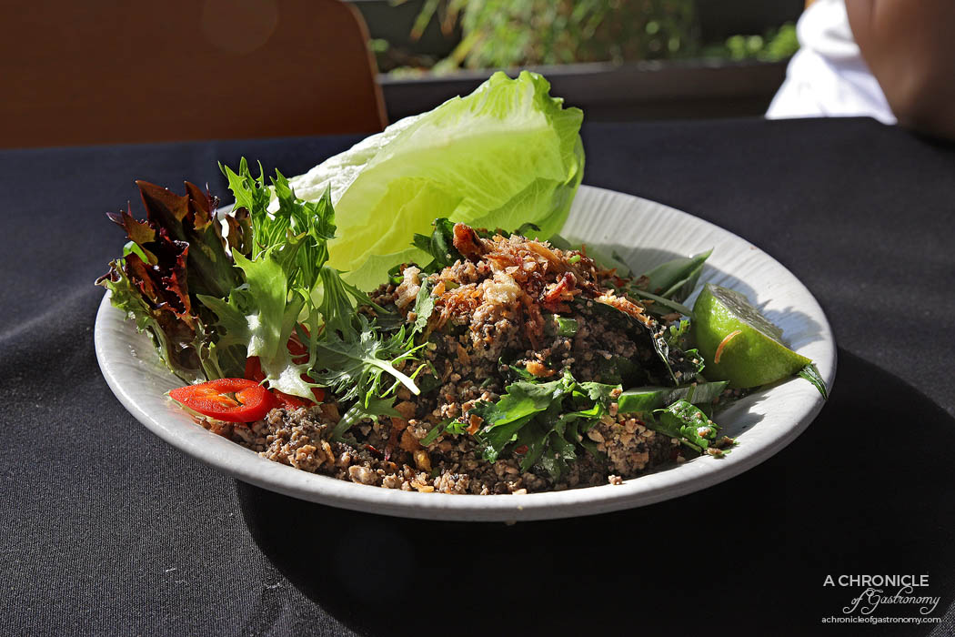 Bang Pop Northern Thai vegan lab w minced firm tofu, cucumber, shallots, mushrooms, mixed greens, lime
