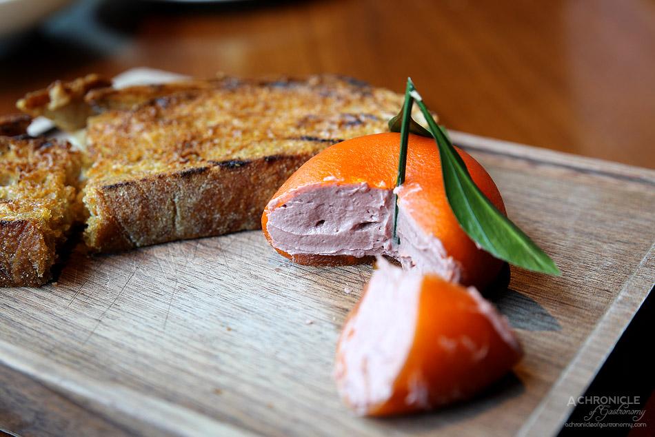 Dinner by Heston - Meat Fruit (c.1500) - Mandarin, chicken liver parfait & grilled bread ($38)