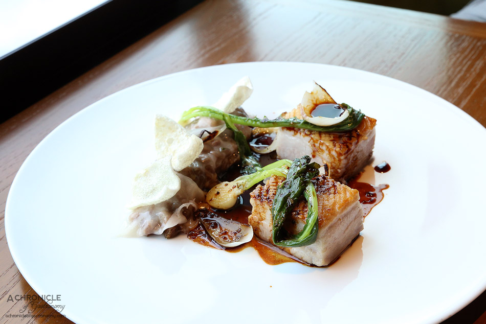 Dinner by Heston - Slow cooked Pork Belly (c.1820) - Spelt, lardo, baby turnip & Robert sauce ($58)