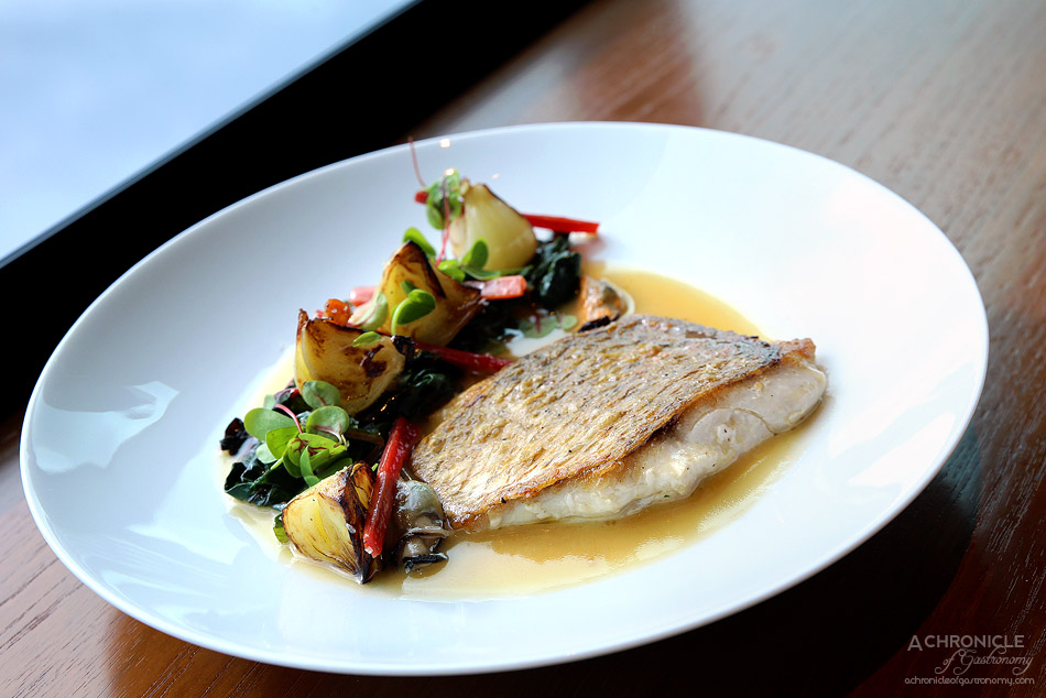 Dinner by Heston - Roast Snapper in Cider (c.1940) - Silverbeet leaves, roast onions & fired mussels ($56)