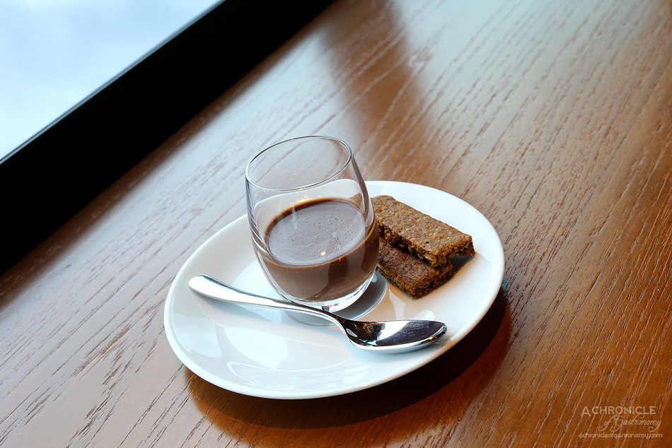 Dinner by Heston - Earl Grey infused chocolate ganache, caraway biscuit