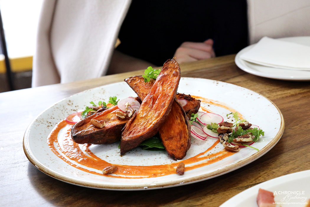 Two Little Pigs - Roast Sweet Potato with beetroot gazpachio, feta mousse, toasted pecans, tatsoi and radish salad ($15.90)