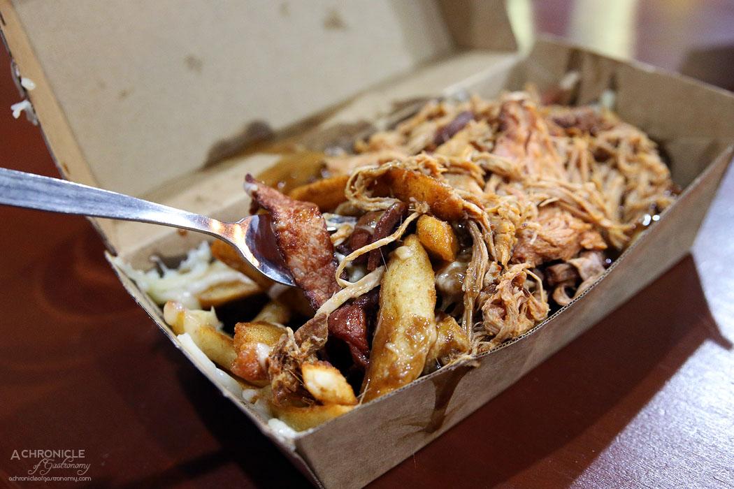 Mr Scruff's - Poutine Chips w Cheese, Bacon, Gravy + Pulled Pork ($11+3)