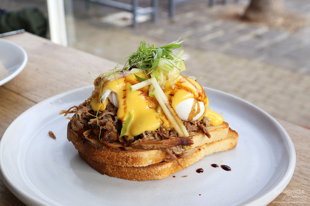 Tall Timber - Timber Benedict with slow cooked pork shoulder, poached eggs and apple cider hollandaise ($20.50)