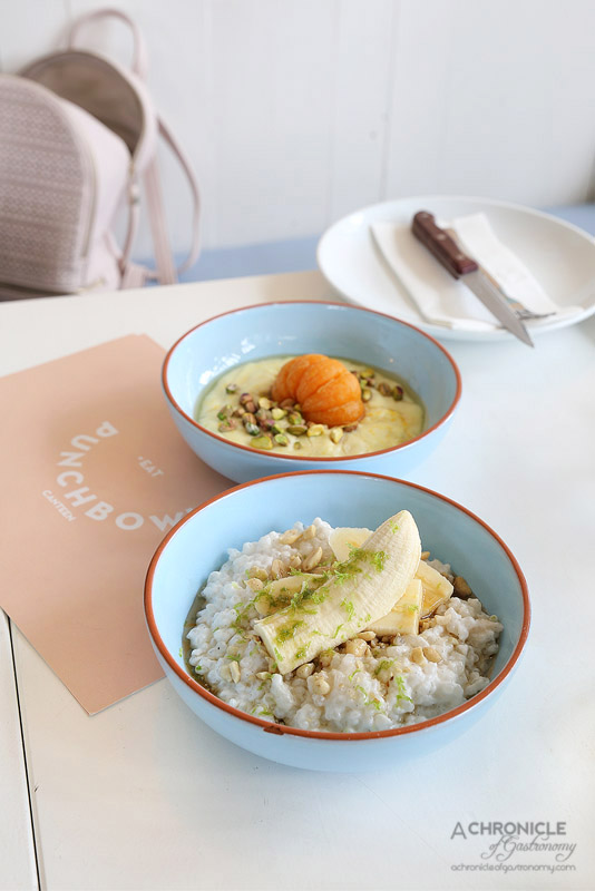 Punchbowl Canteen - Tapioca coconut porridge with bananas and peanuts ($13.50), Semolina porridge, poached mandarin, pistachio with full cream milk ($13.50)