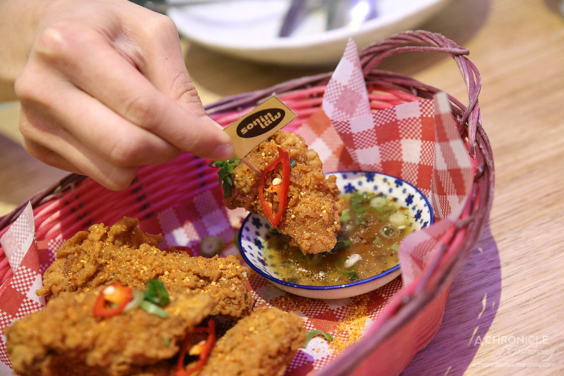 Son in Law - Deep Fried Chicken Ribs - Fried shallots, spring onion, choice of nam jim jaew or sweet chilli dipping sauce (6 pcs for $13)