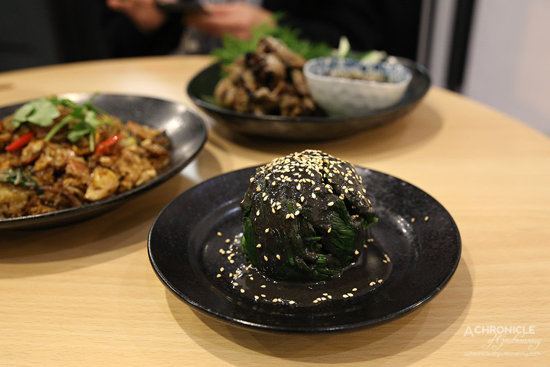 Spring and Summer - Poached spinach, black sesame sauce ($8)
