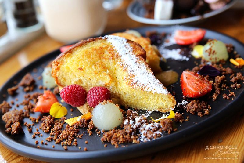 Uncle Drew - Brioche french toast, coffee mascarpone, orange blossom poached honeydew and walnut crumbs ($17)