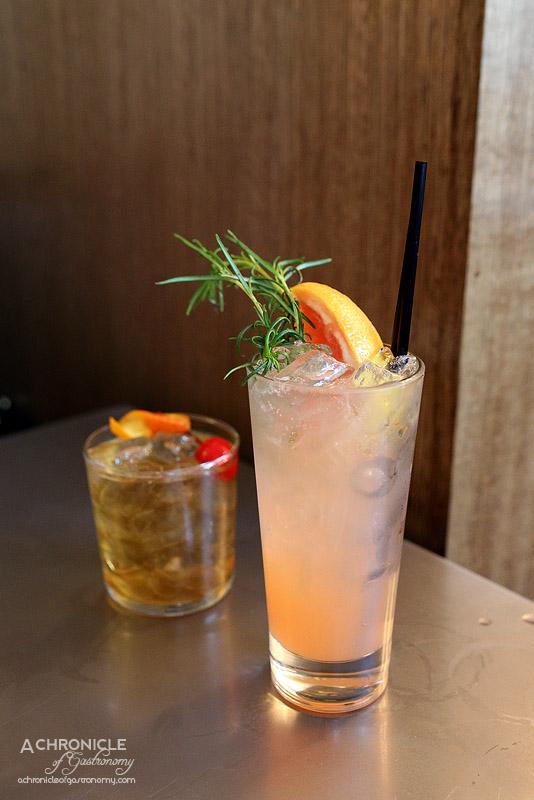 Fancy Hanks - Greyhound - Wyborowa vodka, ruby red grapefruit juice, rosemary ($14)