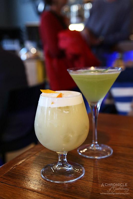 Vault Cafe Bar Restaurant - Breakfast Margharita - Herradura tequila, Daylesford Seville orange marmalade, cointreau, lime, egg white, orange zest; Honey and Basil Daiquiri - Havana Special, organic honey syrup, lime, basil