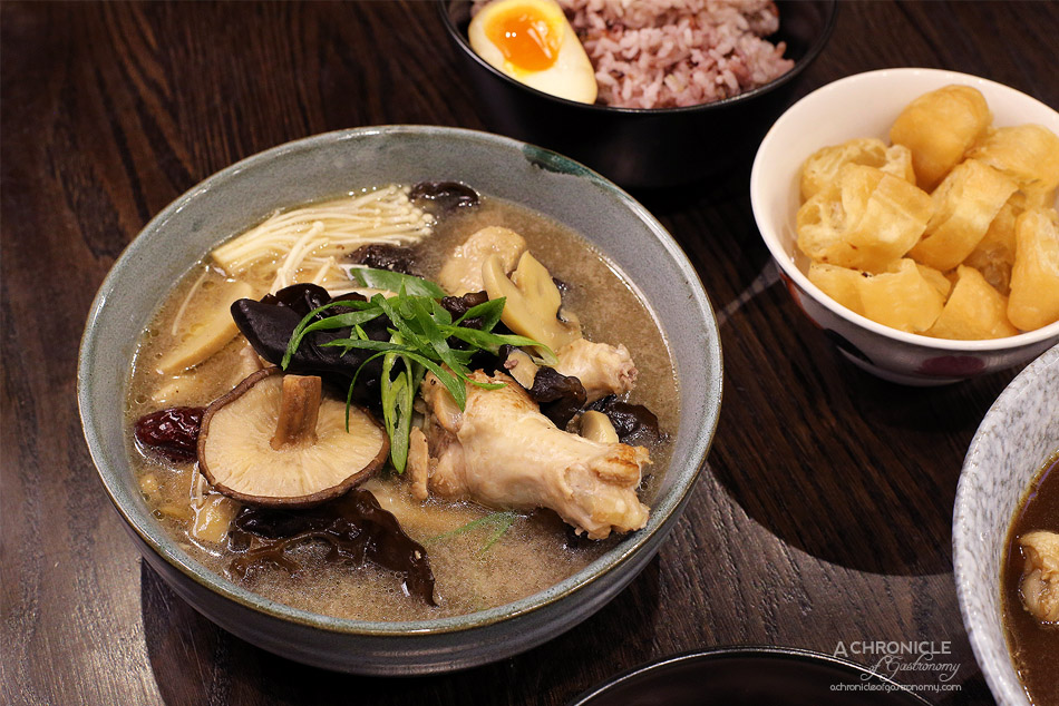 Aunty Franklee - Mother Hen Soup w mushrooms and chicken, multigrain rice and tea egg ($14.90)