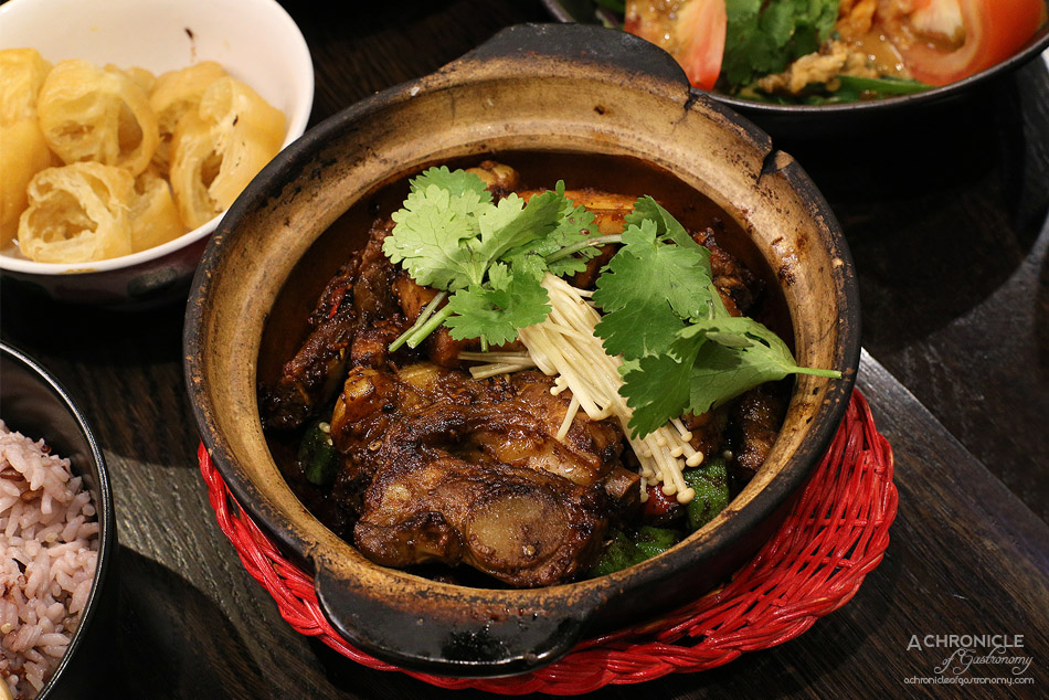 Aunty Franklee - Dry Bak Kut Teh - Pork - Smokey ribs, belly, meatballs, okra, lotus root, charred and glazed in garlic, soy and chillies ($22.60)