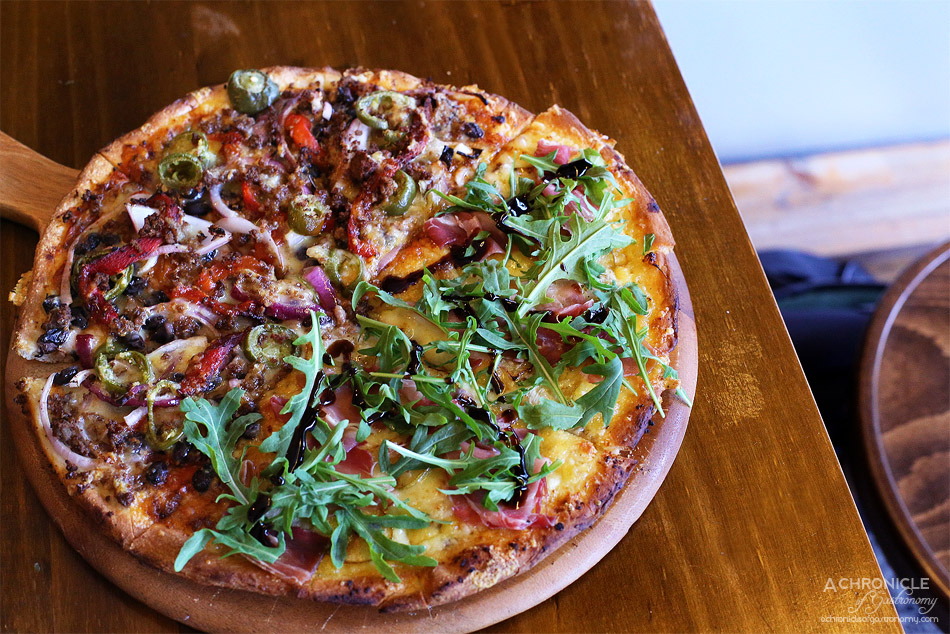 Earth, Wind & Flour - Prosciutto - Cheese, Gorgonzola, Pear, Prosciutto, Reduced Balsamic Dressing, Tomato, Wild Rocket ($17)