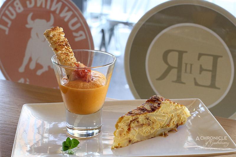 El Rincon - Salmorejo and Ana's tortilla - potatoes, Spanish onions and olive oil