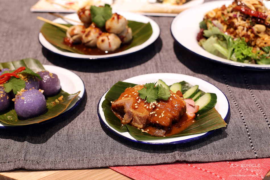 Miss Siam - Thai Sago Dumpling - steamed sago flour dumplings filled with sweet turnip and crushed peanuts, Crispy pork belly